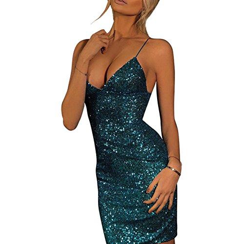 iShine Moda de Profunda Cortas Sin Lentejuela Mujer Mini Ajustado Azul Vestido V Mangas Vestido qwrxpXZA7q