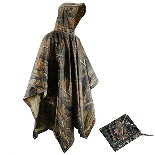 JJLHIF Adults Military Multifunctional Waterproof Ripstop Hooded Waterproof Rain Poncho Camo Portable Raincoat for Men Women Outdoor Camping Hunting Fishing with Matching Bag by JJLHIF