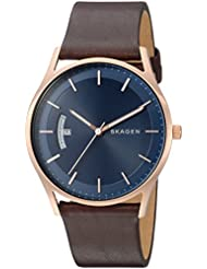 Skagen Mens Holst Quartz Stainless Steel and Leather Casual Watch, Color:Brown (Model: SKW6395)