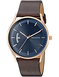 Men's 'Holst' Quartz Stainless Steel and Leather Casual Watch, Color:Brown (Model: SKW6395)