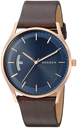 Skagen Men's Holst Quartz Stainless Steel and Leather Casual Watch, Color: Rose Gold-Tone, Brown (Model: SKW6395)