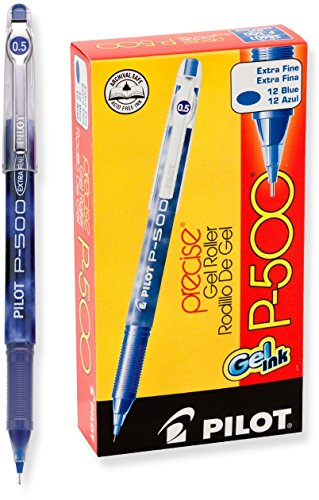 Pilot Precise P-500 Gel Ink Rolling Ball Pens, Extra Fine Point, Blue Ink, Dozen Box ()