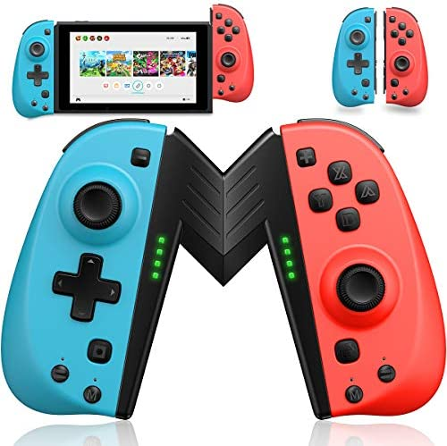 ECHTPower Wireless Controller for Nintendo Joycon Switch, Macro Button/Turbo/Vibration/Motion Functions, L/R Switch Controller Joypad, Nintendo Switch Controllers for Joy Con- Red and Blue