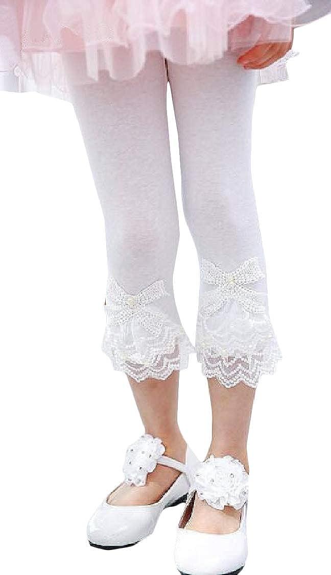 P/&E Girls Lace Trim Capri Pants Summer Cute Legging