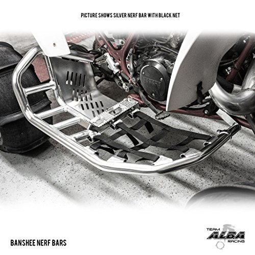 Yamaha Banshee YFZ 350 (1987-2006) Propeg Nerf Bars Silver with Red Net (More Net Color Choices Available) by Alba Racing (Image #1)'