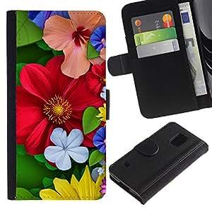All Phone Most Case / Oferta Especial Cáscara Funda de cuero Monedero Cubierta de proteccion Caso / Wallet Case for Samsung Galaxy S5 V SM-G900 // Floral Spring Colorful Blossom Red Flowers