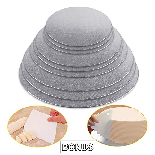 - Cake Boards Sliver Foil Round Cake Circles 8, 10, 12 Inch Cake Base Cardboard, 3 of Each Size Set, with 2pcs Plastic Scrapers for Baking Cake (9 Pack)