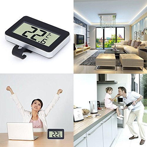 Machine Accessories Digital Lcd Thermometer Temperature Meter W/Magnet Hook For Home Office Room Kitchen Refrigerator Indoor Outdoor White/Black by Machine Accessories (Image #2)