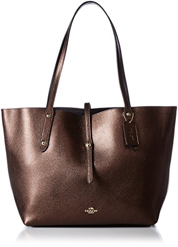Bronze Pebbled Leather - COACH Women's Polished Pebbled Leather Market Tote LI/Bronze Black Tote