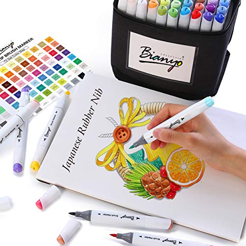 Permanent Dual Tip Brush Marker Pen - Art Professional Drawing Set for Artist, Adults, Kids Coloring by Bianyo