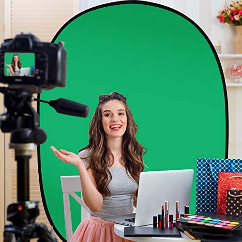 5'X7'Portable Green Screen Backdrop with Stand Blue and Green 2-in-1 Collapsible Green Screen Kit