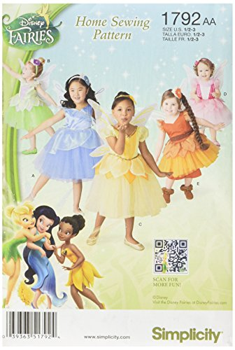 Pattern Costume Fairy (Simplicity 1792: Toddlers' and Child's Disney Fairies Costume Sewing Pattern, Size AA)