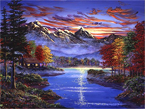 - Diy Oil Painting Paint by Number Kit for Adults Beginner 16x20 inch - Autumn Lakeside Pattern, Drawing with Brushes Christmas Decor Decorations Gifts (Without Frame)
