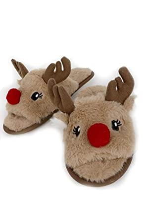 c37ef309e164 Urbanista Super Soft Fuzzy Rudolph the Red Nose Reindeer with Non-Skid Sole  Slipper