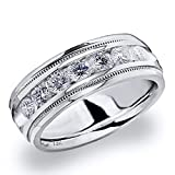 Men's 1ct Grooved Milgrain Diamond Ring in 14K White Gold - Finger Size 13