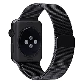 Smart Watch Band, Fully Magnetic Closure Clasp Mesh Loop Stainless Steel iWatch Band Replacement Bracelet Strap for Watch Sport&Edition 42MM Black