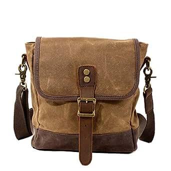 Neumora Small Messenger Bag Vintage Canvas Mini Shoulder Bags Crossbody Purse Waterproof for Men Women (Brown)