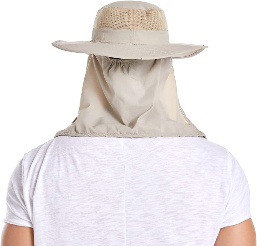 ICOLOR Sun Cap Fishing Hat Wide Brim UV Sun Protection Hats with Neck Face Mask Visors Flap Cover Windproof Hat