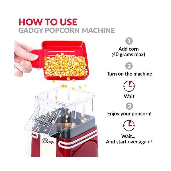 Gadgy ® Popcorn Machine | Retro Macchina Pop Corn Compatta | Aria Calda Senza Olio Grasso l Edizione Rossa Retrò 6