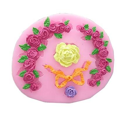 Rose Garland Molde de Silicona Borde de La Torta Molde de Silicona Fondant Herramientas de decoración