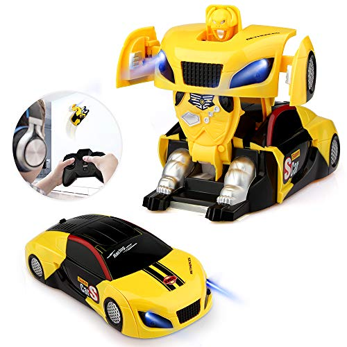 Baztoy Transform Toy Remote Control Car Wall Climbing for Boys Girls Age of 3, 4, 5, 6,7,8-16 Year Old Gifts One-Button Deformation 360° Rotating RC Robot Cars with LED Light Intelligent Vehicle