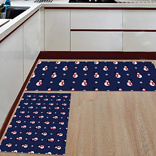 Mat Floor Carpet - Runner Rug Set of 2 Non-Slip Rubber Backing Doormat - Christmas Winter Holiday Snowman Navy Blue Door Mats for Kitchen Grill Baths Tub Living Room Bedroom 19.7