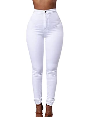 ZKOO Leggings Femmes Stretch Skinny Taille Haute Crayon Pantalon Collants  Push Up Denim Pantalons Jeans Blanc