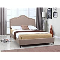 Home Life Cloth Light Brown Linen 51 Tall Headboard Platform Bed with Slats King - Complete Bed 5 Year Warranty Included 009
