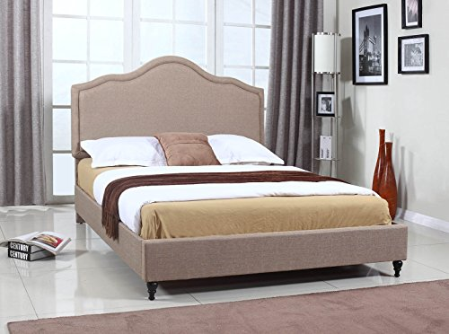 "Home Life Cloth Light Brown Linen 51"" Tall Headboard Platfor"