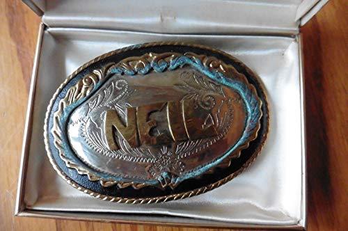 Vintage German Silver belt Buckle Neil name Monogram oval Western Cowboy style