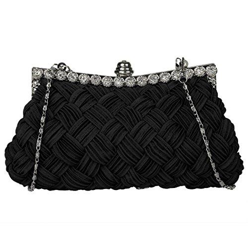 Bolsa - All4you mujeres embrague brillantes diamantes de imitación noche bolso con Chain(White) del hombro Negro