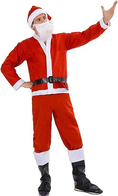 ADULTS SANTA HOODED COAT COSTUME MENS FATHER CHRISTMAS FANCY DRESS BEARD BELT