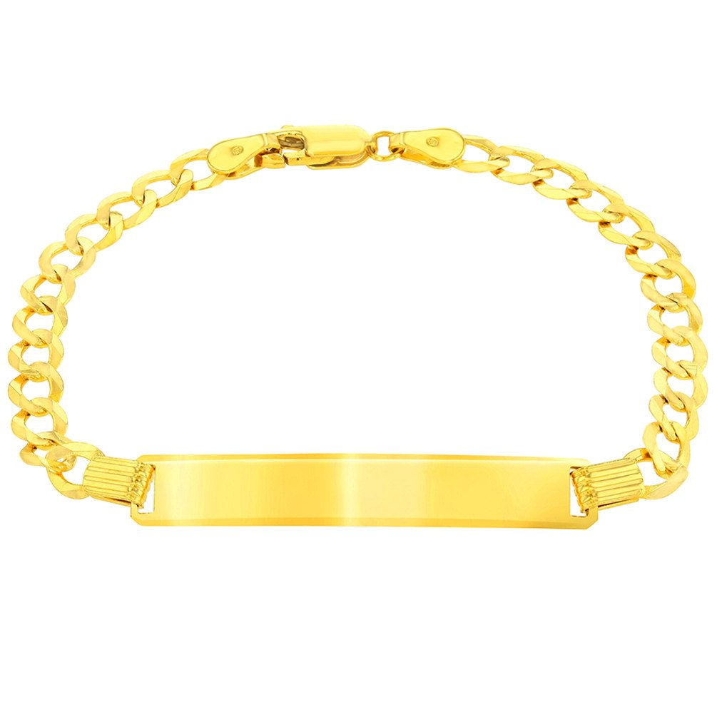 Solid 14K Yellow Gold ID Bracelet with Cuban Concave Chain Curb Link, 6''