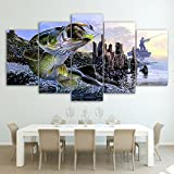 [LARGE] Premium Quality Canvas Printed Wall Art Poster 5 Pieces / 5 Pannel Wall Decor largemouth bass fishing Painting, Home Decor For Living Room Pictures - With Wooden Frame
