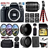 Canon EOS 77D DSLR Camera with 18-135mm is USM Lens + UV FLD CPL Filter Kit + Wide Angle & Telephoto Lens + Camera Case + Tripod + Card Reader - International Version