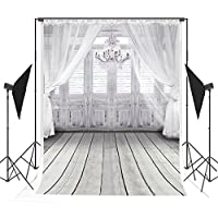 5x7 ft White Wedding Photo Backgrounds Curtain & Chandelier & Wood Floor Wrinkle free Photography Backdrops for Children wd2086