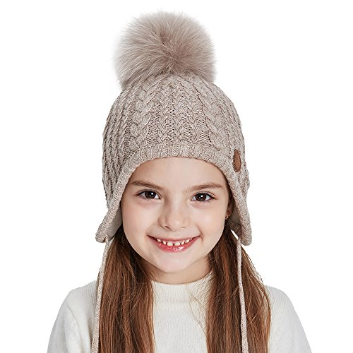 Toddler Winter Hat For Boys and Girls Ear Flaps Beanie With Real Fox Pom Pom For Boys and Girls (Childrens Ear Flap Beanie)