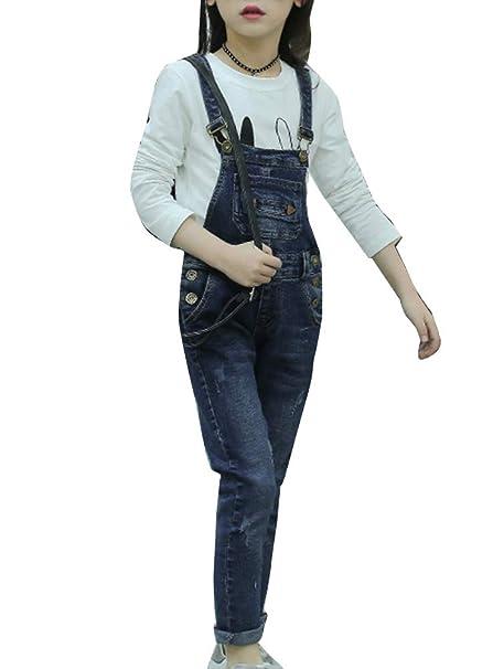 Runyue Niñas Mono Vaquero Pantalón Pantalones de Peto de Mezclilla Overalls Jeans: Amazon.es: Ropa y accesorios
