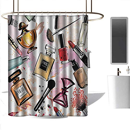 Kids Shower Curtains Girls,Cosmetic and Makeup Theme Pattern with Perfume Lipstick Nail Polish Brush Modern Lady,Multicolor Bathroom Curtain with 12 Hooks W108 x L72 Inch