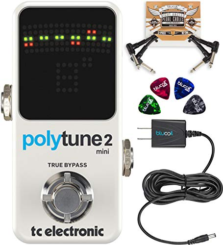 TC Electronic PolyTune 2 Mini Chromatic and Polyphonic Tuning Pedal Bundle with Blucoil Slim 9V 670ma Power Supply AC Adapter, 2-Pack of Pedal Patch Cables, and 4-Pack of Celluloid Guitar Picks