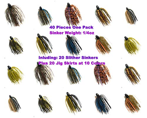 Wtrees Best Fishing Bass Jigs Kit Set Bulk 40 of Pack Slither Sinkers with Skirts 1/4oz (40 of Pack Slither Sinkers with Skirts 1/4oz Kit #13)
