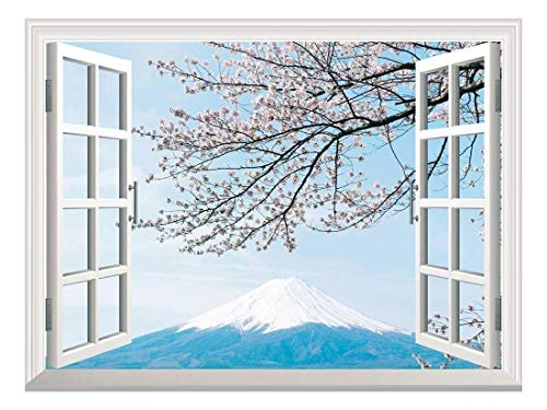 Removable Wall Sticker Wall Mural Mt Fuji with Cherry Blossom Creative Window View Wall Decor