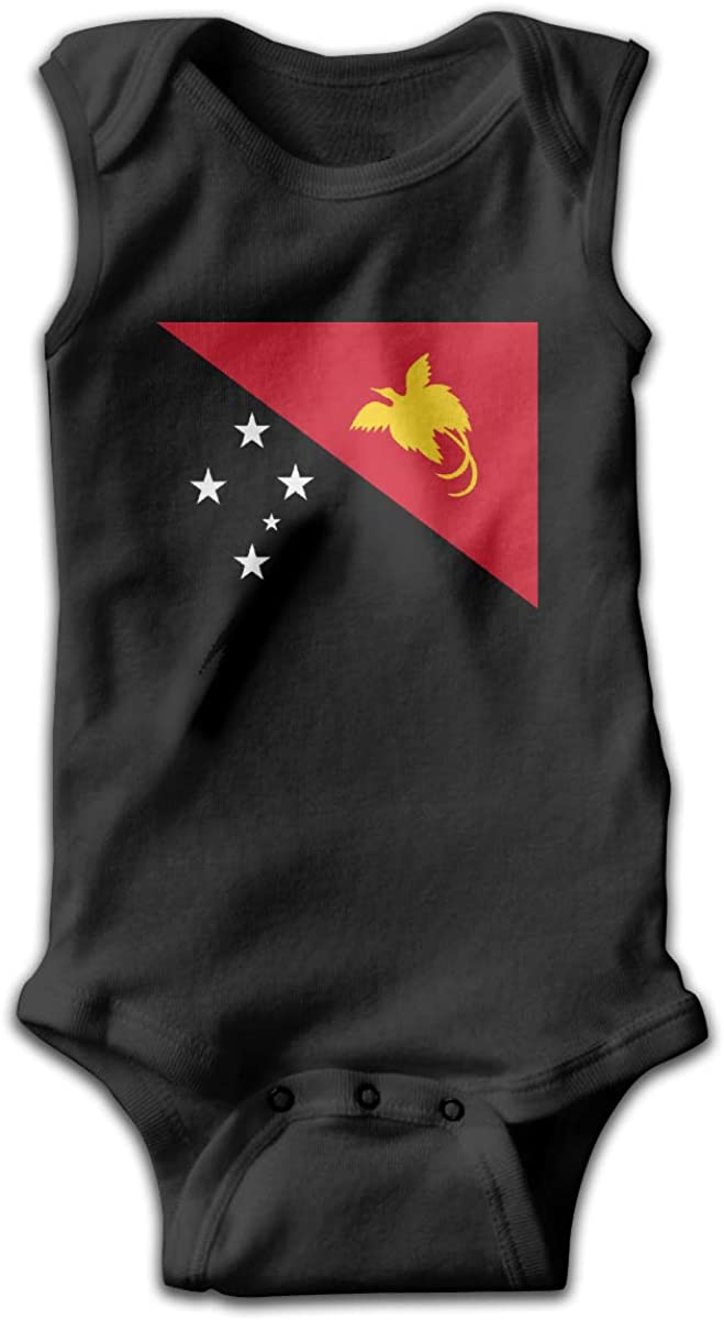 UyGFYytg Flag of Papua New Guinea Baby Newborn Crawling Suit Sleeveless Onesie Romper Jumpsuit Black