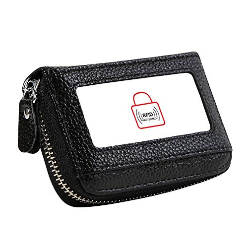 Women's RFID Blocking 12 Slots Credit Card Holder Leather Accordion Wallet,black