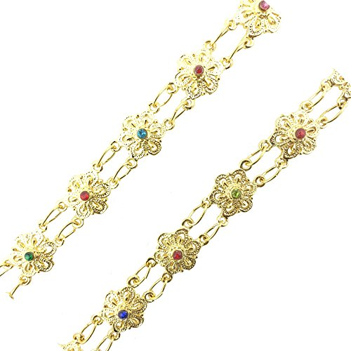 Siwalai Thai Traditional Gold Plated Multicolor Crystals Body Chain (Sangwan) For Kids 36 Inches