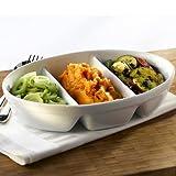Royal Genware 3 Division Vegetable Dish 28cm | Porcelain Dish, White Dish, Veg Dish, Side Dish - Oven to Tableware