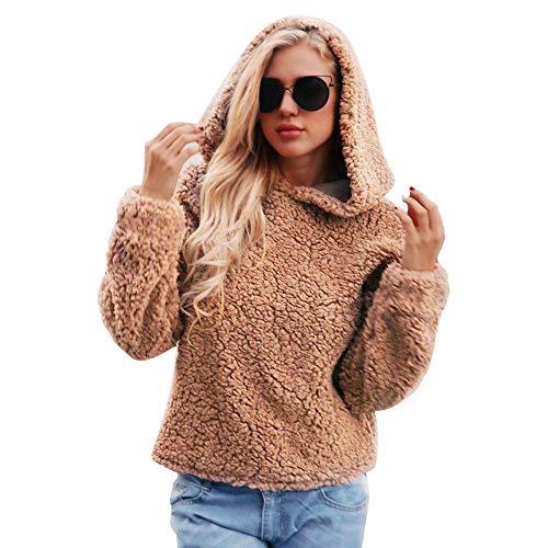 Women's Warm Long Sleeves Oblique Button Neck Splice Geometric Pattern Fleece Pullover Coat Sweatshirts Outwear (L,Brown)