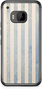 HTC One M9 Transparent Edge Phone Case Wallpaper Style Blue Lines M9 Cover with Transparent Frame