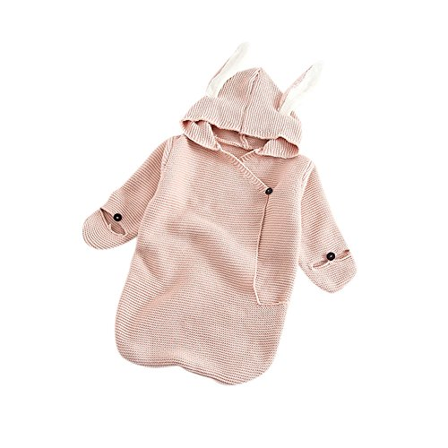 Alician Newborn Baby Girl Cute Cotton Swaddle Blankets Knitted Hooded Rabbit Ear Swaddle Wra