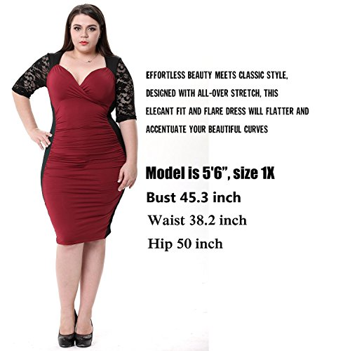 Sapphyraâ–' Women's Lace Sleeves Gathered Waist Vintage Clubwear Plus Size Dress, Red, 3XLPlus